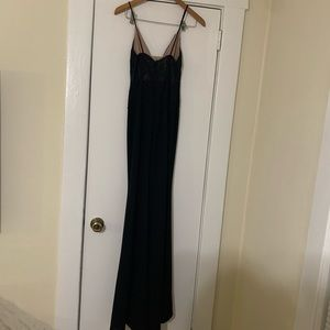 Hello Molly Dresses - Black Deep V Sheer High Leg Slit Size 4